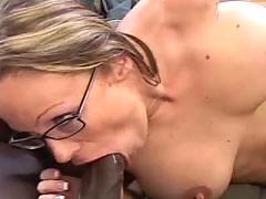Busty Brunette Takes Some Black Dick